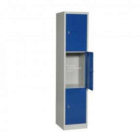 Vestiaire multicases 3 cases portes ouvertes avec option pieds