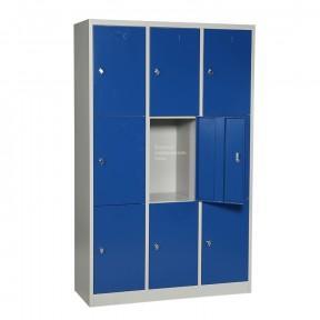 Vue d'ensemble Vestiaire multicases 9 cases porte centrale ouverte