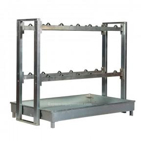 Support pour fût avec bac de retention galvanise pour le stockage de bidons