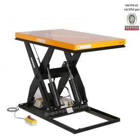 Table élévatrice électrique plateau 1300x1000mm 2000 Kg 380V certifiée par bureau veritas