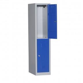 Vue d'ensemble du vestiaire bi places 2 cases L40cm porte ouverte sans accessoires