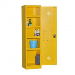 Vue d'ensemble de l'armoire produit dangereux L50cm porte ouverte avec accessoires