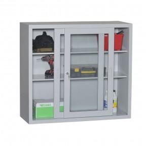 Vue d'ensemble de l'armoire vitrée H109cm gamme budget avec accessoires