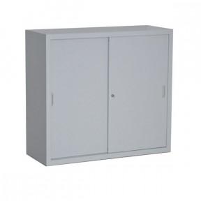 Vue d'ensemble de l'armoire porte coulissante H109cm gamme budget porte fermée coloris gris